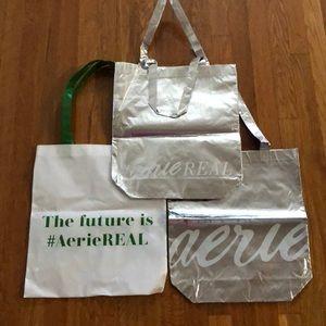 Aerie Tote Bags x 4 : 2 - Silver & 2 - White